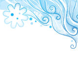 Vector abstract background with dotted swirls, curly lines and snowflakes on the textured blue background. Stock Photo