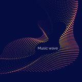 Vector abstract background with dynamic music waves, line and particles. Illustration suitable for design stock illustration