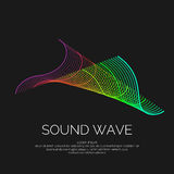 Vector abstract background with a dynamic sound waves and particles. Stock Photography
