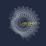 Vector abstract background with dynamic waves, line and particles. Stock Photo