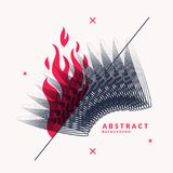 Vector abstract background with dynamic waves, line and particles. Stock Image