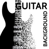 Vector abstract background with electric guitar and notes.  Royalty Free Stock Photo