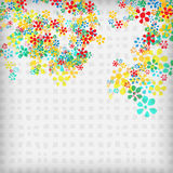 Vector abstract background. With flowers and gray squares stock illustration
