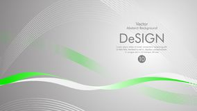 Vector abstract background with green wavy lines vector illustration