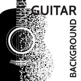 Vector abstract background with guitar and notes.  Royalty Free Stock Photography
