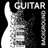 Vector abstract background with guitar and notes.  Royalty Free Stock Images