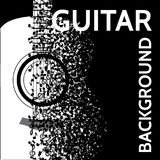 Vector abstract background with guitar and notes.  Stock Images
