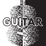 Vector abstract background with guitar and notes.  Royalty Free Stock Photo