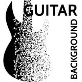 Vector abstract background with guitar and notes.  Royalty Free Stock Photos