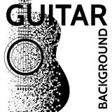 Vector abstract background with guitar and notes.  Stock Image