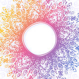 Vector abstract background with hand drawn round rainbow ornamental frame. Circular ornament. Stock Photos
