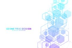 Vector abstract background hexagonal molecular structures in technology background and science style. Medical design. Vector illustration stock illustration