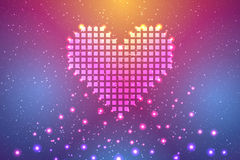 Vector abstract background. Love vector abstract background with pixel heart vector illustration