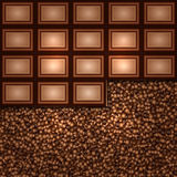 Vector abstract background made from coffee beans and chocolate Royalty Free Stock Images