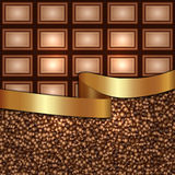 Vector abstract background made from coffee beans and chocolate. Vector abstract background with ribbon, chocolate and coffee beans Stock Image