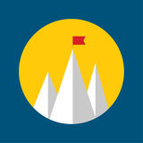Vector abstract background with mountains. And a red flag at the peak. The concept of overcoming difficulties to achieve winning results. Achieving the goal Royalty Free Stock Images