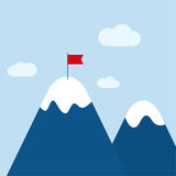 Vector abstract background with mountains. And a red flag at the peak. The concept of overcoming difficulties to achieve winning results. Achieving the goal Stock Image