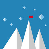 Vector abstract background with mountains. And a red flag at the peak. The concept of overcoming difficulties to achieve winning results. Achieving the goal Stock Images