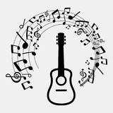 Abstract background of musical notes and guitar. Vector abstract background of musical notes and guitar Stock Photos