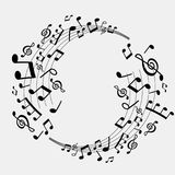 Abstract background of musical notes, white and black Stock Photos