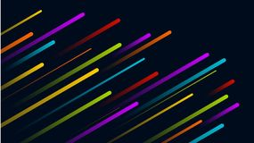 Vector Abstract Background Rainbow Beams. Vector dark blue background with different color beams goind from lower left corner under 30° angle. They are fading vector illustration