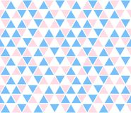 Vector abstract background, seamless pattern. Blue pink white triangle shapes texture. Kids geometric mosaic pattern Royalty Free Stock Images