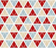 Vector abstract background, seamless pattern. Christmas colors triangles texture. Red silver gold geometric mosaic Stock Photography