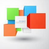 Vector abstract background. Square and 3d object Stock Images