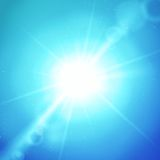 Vector abstract background with sun and lens. Flares on blue Stock Images