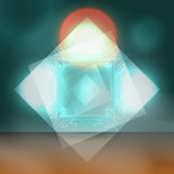 Vector Abstract Background. Techno Sunset with Red Sun Illustrat Royalty Free Stock Photos