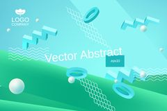 Vector abstract background in blue and green colors. Vector abstract background template for banner or poster design in blue green colors with 3d elements and stock illustration