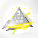 Vector abstract background template with triangle banner. Stock Photography