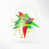 Vector abstract background template with triangle banner. Stock Photo