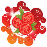 Vector abstract background with tomatoes Royalty Free Stock Photos