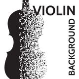 Vector abstract background with violin and notes.  Stock Images