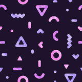 Vector abstract background with watercolor geometric shapes. Seamless pattern with pink and purple geometrical figures Stock Photo