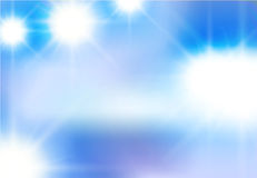 Vector abstract background of white light beaming flashes. Light elements on a blue sky Stock Images