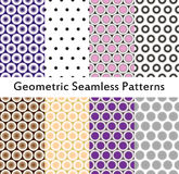 Vector abstract backgrounds. Geometric seamless patterns. Polka dot patterns Royalty Free Stock Photo