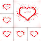 6 vector abstract backgrounds. Set of 6 vector abstract backgrounds with grunge red paper hearts Stock Photo