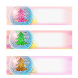 Vector abstract banner and Christmas tree. Set of three vector abstract banner and Christmas tree Royalty Free Stock Photos