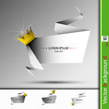 Vector abstract banner with golden crown and stones stock illustration