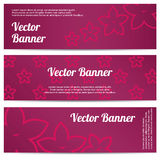 Vector abstract banner with pink flowers Stock Photography