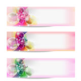 Vector abstract banner and transparent bubbles Royalty Free Stock Photos