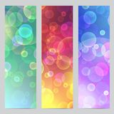 Vector abstract banners with bokeh effect. Vertical banners with lighting party motif. Colorful backgrounds for web. Vector abstract banners with bokeh effect Stock Images