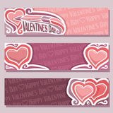 Vector abstract banners for Happy Valentine`s Day Royalty Free Stock Image