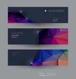 Vector abstract banners set with polygonal, Triangle pattern shape and molecule structure. Low poly banner with connecting dots and lines. Polygon vector Royalty Free Stock Photography