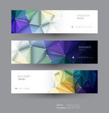 Vector abstract banners set with polygonal, Triangle pattern shape. And molecule structure. Low poly banner with connecting dots and lines. Polygon vector Royalty Free Stock Images
