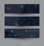 Vector abstract banners set with polygonal, Triangle pattern shape. And molecule structure. Low poly banner with connecting dots and lines. Polygon vector Royalty Free Stock Image