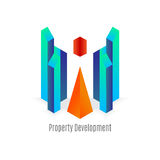 Vector: Abstract bedrijfs de bouwembleem met geometrische vorm, R Stock Afbeelding