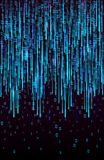 Vector abstract big data visualization. Blue flow of data as matrix code strings. Information code representation. Cryptographic analysis, hacking. Bitcoin stock image